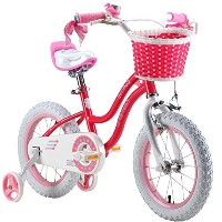 Royalbaby Stargirl Girl's Bike with Training Wheels and Basket, Perfect Gift for Kids. 14 Inch...