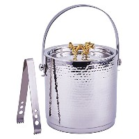 Old Dutch International 'Dragon' Handle Hammered Ice Bucket with Lid And Ice Tong, Stainless Steel ...