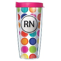 RNエンブレムonピンクRoundabout Tumbler Cup with Clear Lid 22 Oz