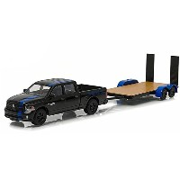 "GREENLIGHT 1:64SCALE HITCH&TOW ""2015 RAM 1500 MOPAR EDITION & FLAT BED TRAILER""(BLACK) グリーンライト 1..."