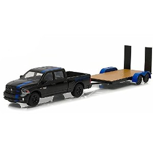 """GREENLIGHT 1:64SCALE HITCH&TOW """"2015 RAM 1500 MOPAR EDITION & FLAT BED TRAILER""""(BLACK) グリーンライト 1..."""