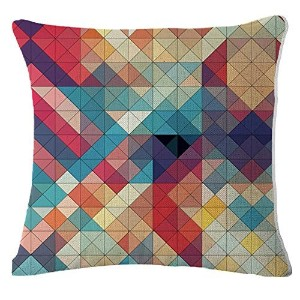 YouYee Square Decorative Linen Cotton Throw Pillow Case Cushion Cover,Diamond Pattern,18 X 18-Inch...