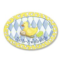 The Kids Room by Stupell Rub-a-dub-dub Rubber Ducky Oval Wall Plaque by The Kids Room by Stupell