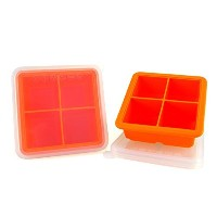 MIREN 2 Inch Large Premium Silicone Ice Cube Tray with Lid,4 Cube,Set of 2,Orange by MIREN