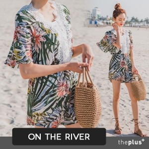 ★ontheriver ★Summer Cool Lace Point Tropical Jumpsuit / Korean Fashion / Plus size