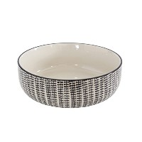 Creative Co-op DA5780 Stoneware Hand-Stamped Bowl, Black and White by Creative Co-op