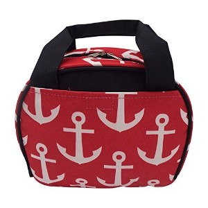 Womens Insulated Lunch Tote Bag (Red Anchors w/ Black Trim) by Kitchen Creations
