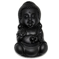 Scoo手彫り天然本物Obsidian Baby Buddha Headアミュレットペンダントネックレス