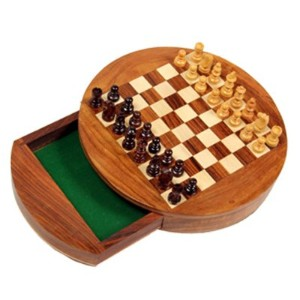 Special Gift at Fathers Day Wooden megnatic chess bord, Round Shape Brown with Drawer Chess Board,