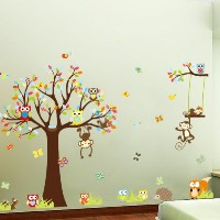 Colorful the Squirrel Owl Monkeys Playing on the Tree Wall Vinly Decal Decor Sticker Removable Wall...