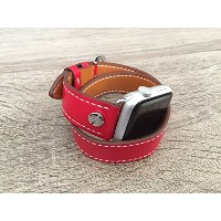 Red Double Wrap Vegan Leather Band For Apple Watch Series 1 & 2 (42mm) Replacement Bracelet Eco...
