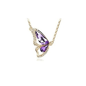 Alloy Plating 18K Butterfly Pendant Crystal Necklaces for Women (GOLD PURPLE)