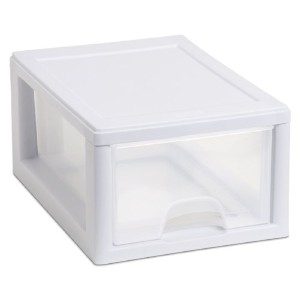 Sterilite 20518006 Small 6 Qt Stacking Drawer with White Frame and See-Through Drawer, 6-Pack by...