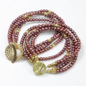 SMBATI BEADS BRACELET サンバティ ビーズ ブレスレット THB-3008 (col.RED PERL×GOLD)
