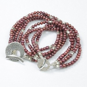SMBATI BEADS BRACELET サンバティ ビーズ ブレスレット THB-3051 (col.RED PERL×SILVER)