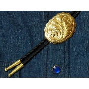 Gold Plated Engraved Bolo Tie アメリカンループタイ/ウエスタンボロタイ【楽ギフ_包装】