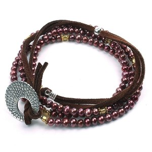 SMBATI BEADS BRACELET サンバティ ビーズ ブレスレット THB-3021 (col.RED PERL SILVER×GOLD)