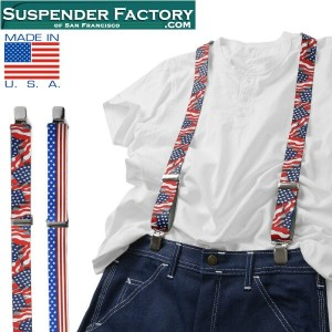 SUSPENDER FACTORY サスペンダーファクトリー US FLAGS 総柄サスペンダー MADE IN USA