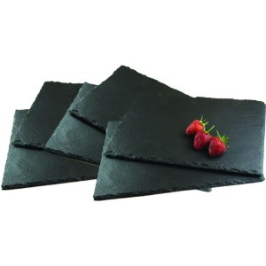 Set Of 6 Rectangle Natural Slate Placemats Cheeseboard Dinner Table Place Mat by Get Goods