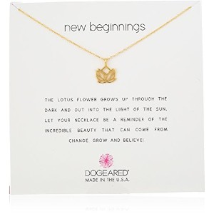 Dogeared New Beginnings Rising Lotus Gold Dipped Reminder Boxedネックレス