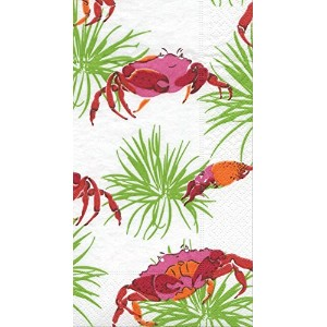 Entertaining with Caspari Crabbyアイボリー Guest Towel 11871G