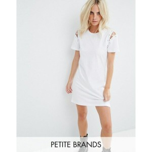 グラマラス レディース ワンピース トップス Glamorous Petite T-Shirt Dress With Lace Up Shoulder Detail White