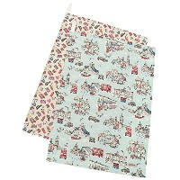 キャスキッドソン タオル CATH KIDSTON 663717 SET OF TWO TEA TOWELS LONDON TOWN LIGHT AQUA [並行輸入品]