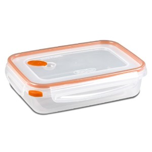 Sterilite 03211106 Ultra Seal 5.8 Cup Food Storage Container, Clear lid and base with Tangerine Accents, 6-Pack by STERILITE