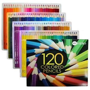 Heroセット水彩鉛筆のスケッチColoring Pagesとブック( Freeブラシ付属) 120-Pack-Color GH120