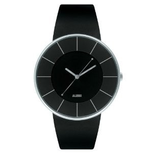 腕時計 Alessi Men's AL8004 Luna Leather and Case in Steel Black Designed by Alessandro Mendini Watch...