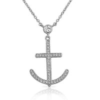 925 Sterling Silver White CZ Womens Cross Anchor Pendant Necklace