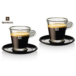 Nespresso Set Glass Collection Espresso Cups & Saucers,A & P Cahen Design,New