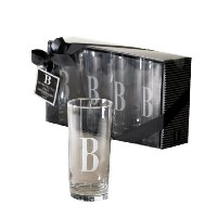 Cosmopolitanホームby Mud Pieのセット4 Highball Glasses withモノグラム初期