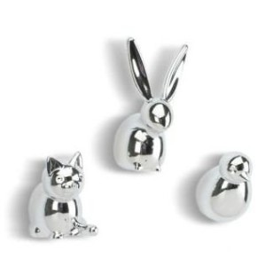 Umbra Menagerie磁石クロムメッキセットの3;鳥、Cat and Bunny Magnets。