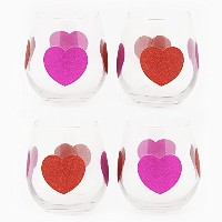 TMD Holdings Glitter HeartクリアStemless Wineglass、ピンク、4のセット