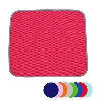 Jovilife Dish Drying Mat Kitchen Mat(set of 2) Microfiber Absorbent Washable,16*18 Inch,Red by...