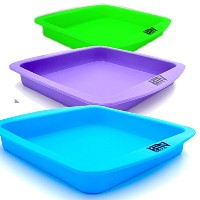 Wax Deep Dish Container Tray - Bulk Set of 3 - Assorted Colors by Silicone Alley