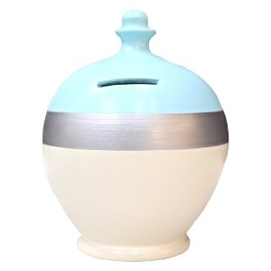 Terramundi Money Pot - Cream with Baby Blue Top and Silver Band D42 by Terramundi