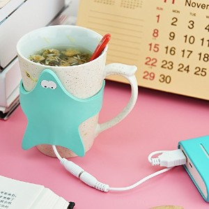 Flee Mug WarmerヒトデShaped with USBポートデスクトップHeated Cooffee Tea for Home and Office ブルー