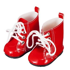 Doll Clothing Shoes for American Girl And Other 18 Inch Dolls - Red Lace Up Boots - Fashion Doll...