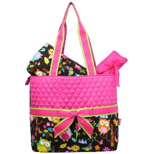 Monogrammable Pink Quilted (3) Piece Diaper Bag with Ribbon Accents & Colorful Owl & Flower Print...