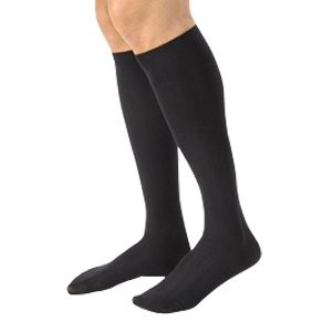Men's 20-30 mmHg Firm Casual Knee High Support Sock Size: Large Tall, Color: Black by Jobst