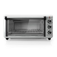 BLACK+DECKER TO3240XSBD 8-Slice Extra Wide Convection Countertop Toaster Oven, Includes Bake Pan,...