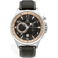 【Bulova ブローバ メンズ 腕時計 96B141 Stainless Steel Leather Strap Adventurer Chronograph Watch】