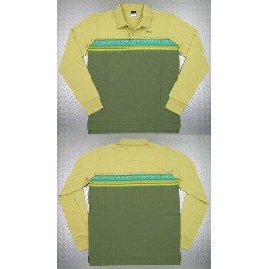 55DSL(FIFTY FIVE DSL)TOBIAS POLO SHIRT(長袖プリントポロシャツ)カーキ×オリーブ