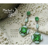 Michel's Vintage Beads Earing ヴィンテージビーズ・ピアス/グリーン