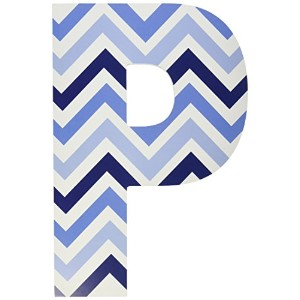 The Kids Room by Stupell Tri-Blue Chevron Hanging Wall Initial, P, 18 by The Kids Room by Stupell