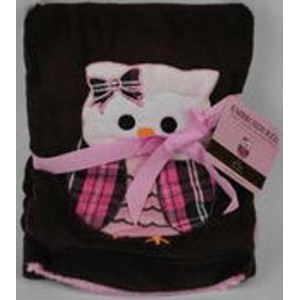 Embroidered Soft Plush Reversible Owl Baby Blanket by S.L. Home Fashions