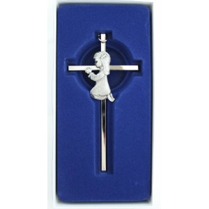 Silver Girl wall Cross Infant Blessing Baby Plaque Wall Decor Hanging Infant Gift Communion Baptism...