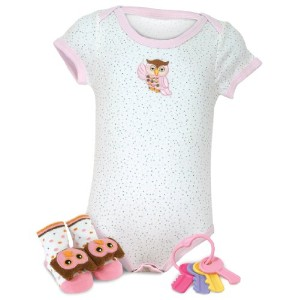 Stephan Baby Hooty Owl Wiggle and Giggle Gift Set, Pink, 3 Piece by Obsolete